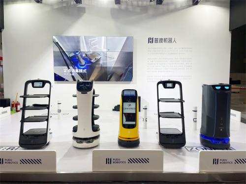 普渡送餐机器人亮相2021重庆国际火锅食材用品展览会